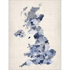 Great Britain UK Watercolour Map
