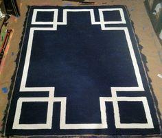 Greek Key Art Deco Rug Navy Blue 5x7 Ready to ship by ArborRoad