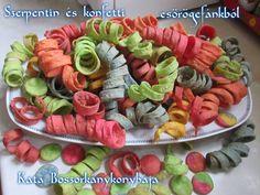 Szerpentin és konfetti csörögefánkból (Gluténmentesen is) Pasta Salad, Ethnic Recipes, Food, Confetti, Crab Pasta Salad, Essen, Meals, Yemek, Eten