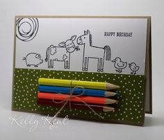Stampin' Up! Barnyard Babies. Black & white images with pencils attached. Clever idea -- DIY Coloring Cards, fun for kids or adults.