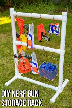 Do you have Nerf guns and darts all over the backyard? You need this Nerf gun storage rack! It's made with PVC pipe and it's super easy to make without any power tools! Get the tutorial at The Handyman's Daughter! Kids Storage, Toy Storage, Storage Rack, Storage Ideas, Pvc Projects, Cool Diy Projects, Outdoor Projects, Newest Nerf Guns, Nerf Gun Storage