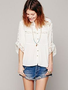 White button up with crochet detailing. So fresh and pretty. Free People.
