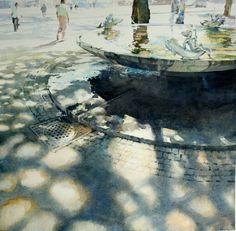 """""""Fountain"""" by David Walker. Watercolor."""