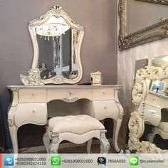 French Style Dressing Table Set White Silver Mulan   Mulan is a French style dressing table set in white and silver color finish that made from solid mahogany wood. It brings you the collaboration of a good quality wood lovely white-silver finish and beautiful white polyester fabric for the stool's upholstery. Custom color combination is also available to suit your home's theme. The design of this mahogany bed adopts French style that showed by its carving motif and curvy body. Mulan has…