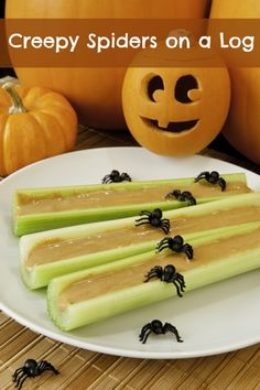 Homemade Spiders On A Log #Homemade #Halloween #KidFoods #Spider #AntsOnALog #Snacks #Healthy