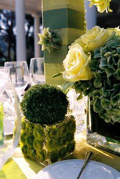 Deep green floral wedding table decor, photo by Yvette Roman Photography