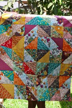 Squares, made of triangles make a quilt. Simple and beautiful.