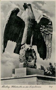 """NS postcard of Nuremberg, """"Hoheitsadler in der Luitpoldarena""""                                                                                                                                                      Mehr"""