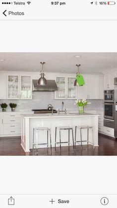 kitchen inspiration • profiled cabinetry  • subway tiles splashback • industrial Hampton pendants • rich timber flooring