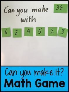 Can You Make It? Math Game - great game for differentiating. Can You Make It? Math Game - great game for differentiating. Fourth Grade Math, Second Grade Math, 4th Grade Math Games, Fun Math Games, Mental Maths Games, Maths Games Ks2, Maths Riddles, Year 5 Maths, Sixth Grade