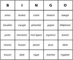a group of er verbs in a bingo game