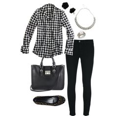 """Black and silver gingham"" by mummy-style on Polyvore"