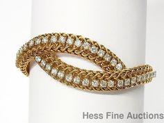 Superior Heavy 18k Gold Approx 3ctw Ultra Fine Diamond 1950s Mesh Bracelet #WovenChainMesh