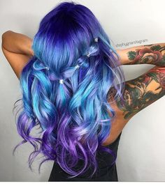Pulp Riot Beauty: Fantasy Unicorn Purple Violet Red Cherry Pink yellow Bright H. Bright Hair Colors, Hair Color Purple, Cool Hair Color, Purple Makeup, Colorful Hair, Bright Coloured Hair, Purple Ombre, Purple Grey, Color Blue