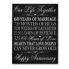 60th Wedding Anniversary Wall Plaque Gifts for Couple 60th Anniversary Gifts | eBay