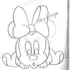 Disney Drawings Sketches, Disney Character Drawings, Cute Disney Drawings, Cartoon Drawings, Easy Drawings, Drawing Sketches, Minnie Mouse Drawing, Minnie Mouse Coloring Pages, Disney Coloring Pages