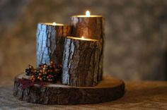 Rustic Log Candle Holder  Rustic Home Decor   Wood by GFTWoodcraft