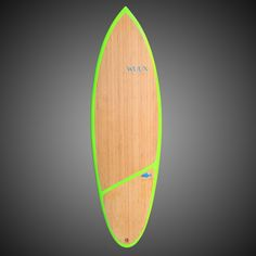 """WUUX """"Roach"""" x 19 x 2 with sexy green rails and some super smooth asymmetrical bamboo finish! Surfboard Fins, Surfboards, Bamboo, Smooth, It Is Finished, Sexy, Green, Skateboards, Surfboard"""