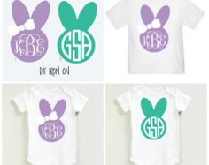 DIY Easter Bunny Iron on Heat Transfer Monogram - Girl and Boy style // Onesie Toddler T-shirt Cloth Easter Basket Etc