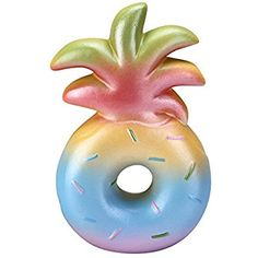 """Squishy Pineapple Donuts Toys Slow Rising Squishies, Squishy Stress Relief Toys Vlampo Scented Party Decoration Pineapple Donut 6.1"""" 1 Piece (Rainbow)"""