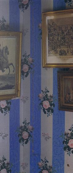 "Roses and stripes = French.  Prints French Interiors: ""The Art of Elegance"" Christine de Nicola;y -Mazery 4 Trouvais"