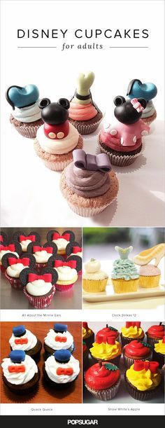 Your Inner Child Will Go Wild For These Disney Cupcakes If you checked out these stunning Disney wedding cakes, then you already know you can embrace your Disney obsession in a classy, adult way. Disney Cupcakes, Disney Desserts, Disney Recipes, Disney Inspired Food, Disney Food, Disney Ideas, Disney Disney, Disney Magic, Wedding Cakes With Cupcakes