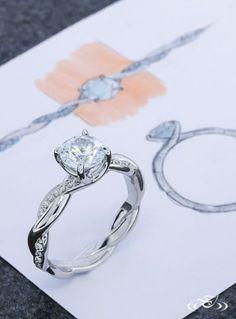 Platinum Twist Diamond Engagement Ring Green Lake Jewelry