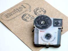 Retro Camera Wood Brooch Kodak Brownie Badge by PaperDraper