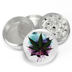 Watercolor Weed Design Uv PrintDesign 4 Piece Aluminum Medicinal Herb Tobacco Spice Grinder Crusher Glass Jar Set - PGR086