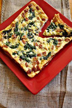 Feta, Spinach and Sausage Crustless Quiche