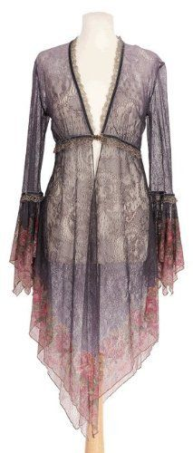 Amazon.com: Sheer Long Cardigan Designed by Michal Negrin with Victorian Flower Pattern Ruffled Cuffs, Triangle Hem, Lace and Velvet Trim and Merrow Edge Finish: Clothing