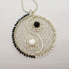 Yin Yang Pendant Necklace Silver Plated Wire Wrapped