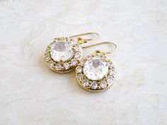 Bridal Earrings Cubic Zirconia Gold Filled Vintage by SomsStudio, $31.00