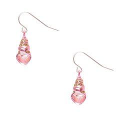 Holographic Pink Seashell Drop Earrings