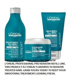 @L'Oreal Paris answer for #keratin treated hair, the Pro-Keratin Refill line is now offered at Parks Salon in Orange County, along with the rest of the L'Oreal Professional product line.