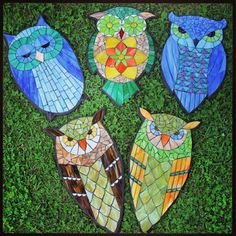 Kasia Mosaics - Stained Glass Mosaic Owls by Kasia Polkowska and Students based on Kasia's Designs