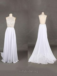 A-line Scoop Neck Chiffon Sweep Train Beading Prom Dresses -USD$148.19