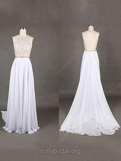 A-line Scoop Neck Chiffon Sweep Train Beading Prom Dresses -USD$148.19