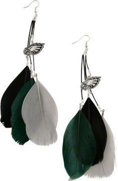 #Eagles Fan Feather Earrings. $7.99