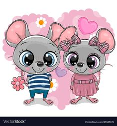 Two Cartoon Mouses on a heart background. Two cute Cartoon Mouses on a heart background royalty free illustration Cartoon Cartoon, Kids Cartoon Characters, Cute Cartoon Girl, Free Cartoon Images, Cartoon Heart, Baby Animal Drawings, Cute Drawings, Heart Background, Background Patterns