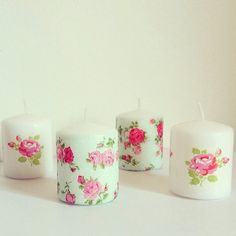 Shabby chic floral decoupage candles by TheLittleWonderland