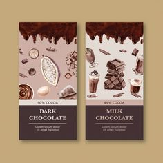 Chocolate packing with ingredients cocoa. Watercolor Food, Watercolor Illustration, Label Design, Packaging Design, Sink Skirt, Sweet Logo, Philosophical Quotes, Chocolate Packaging, Brochures