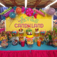 Sweet Dreams by Dana's Birthday / Candyland - Photo Gallery at Catch My Party Birthday Party Ideas For Teens 13th, Easy Birthday Party Games, Candy Theme Birthday Party, Candy Land Theme, Rainbow Birthday Party, Carnival Birthday Parties, Candy Party, Birthday Party Decorations, 13 Birthday
