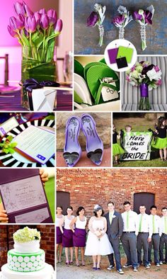 Purple + Lime + Black  Good for: Hip garden weddings  Tips for pulling it off: Colors this bright can overwhelm easily -- unless you mix in a neutral like black or gray.