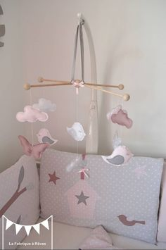 On Order - Mobile Bird Clouds Butterflies Gray Pink Powdered White Old Ros . Nursery Room, Baby Room, Mobiles, Mobile Craft, Little Boy And Girl, Baby List, Felt Toys, Kids And Parenting, Gris Rose