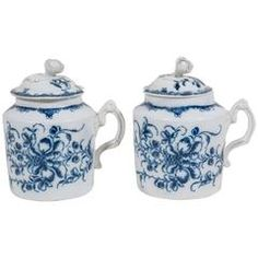 Pair of Blue and White Porcelain 18th Century Pots