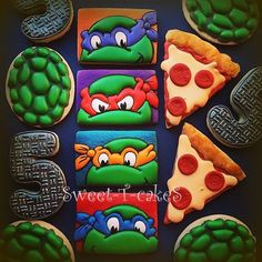 Ninja Turtle Cookies~      By Sweet-T-cakeS on Facebook, Green, Orange pizza