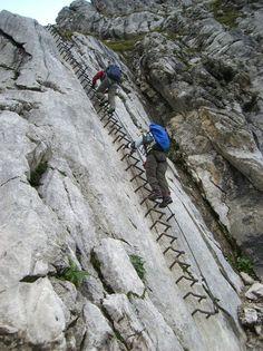 Klettersteig Alpspitze - die markante Einstiegsleiter der Alpspitz Ferrata