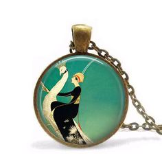 Vogue of Woman and White Peacock Necklace Art deco Pendant Necklace women men jewelry chain brass necklaces charming
