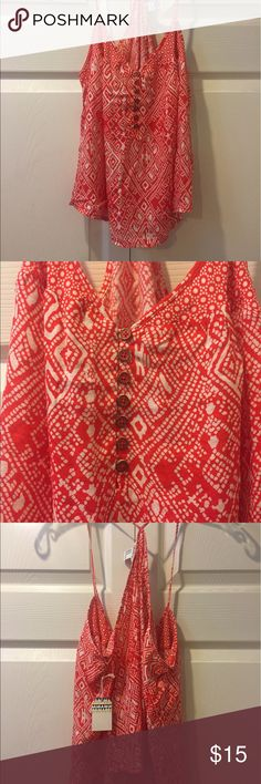 Red & white tribal print boho crop top NWT Forever21 red & white tribal print crop top. Totally boho summer chic! Looks great paired with a maxi shirt, cropped denim shorts, or even overtop a bikini. It's made of that lightweight faux chiffon material, and so it's breezy and cool—perfect summer crop top for outdoor concerts and festivals! Forever 21 Tops Crop Tops